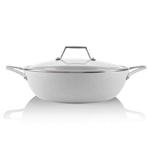 TECHEF - CeraTerra, 5 Qt / 12-in Ceramic Nonstick All Purpose Chef Pan with Cover, (PTFE and PFOA Free Ceramic Exterior & Interior), Oven & Dishwasher Safe, Made in Korea, Grey/Silver (5 Qt Chef Pan)
