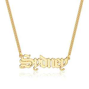 Anoup Gold Custom Name Necklace Personalized, Sydney 14k Gold Plated Personalized Name Necklace Gold Customized Necklace Jewelry Name Plate Necklace Personalized Gifts for Women Gothic Font Style