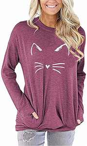 ONLYSHE Women Funny Graphic T-Shirt Long Sleeve Sweatshirt Cute Pullover Lightweight Fall Tops