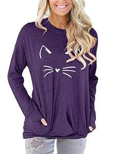 ONLYSHE Womens Round Neck Long Sleeve Cat Print T Shirt Loose Pullover Tops with Pockets