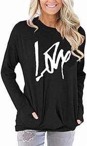 ONLYSHE Womens Love Graphic Casual Letter Print Pullover Long Sleeve Sweatshirts Tops Blouse