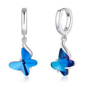 S925 Sterling Silver Post Butterfly Earrings, Crystal Blue Butterfly Huggie Hoop Earrings for Women, 14K White Gold Plated Cubic Zirconia Dangle Hoop Earrings Butterfly Jewelry Gifts for Women