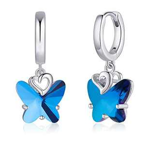 S925 Sterling Silver Post Butterfly Earrings, Crystal Blue Butterfly Huggie Hoop Earrings for Women, 14K White Gold Plated Heart Dangle Hoop Earrings Butterfly Jewelry Gifts for Women