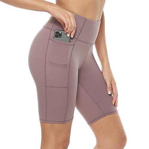Davenil Women's High Waist Workout Biker Yoga Running Compression Exercise Shorts Side & Inner Pockets Purple XXL