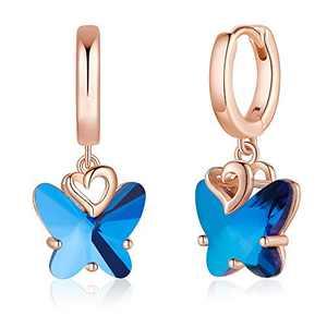 S925 Sterling Silver Post Butterfly Earrings, Crystal Blue Butterfly Huggie Hoop Earrings for Women, 14K Rose Gold Plated Heart Dangle Hoop Earrings Butterfly Jewelry Gifts for Women