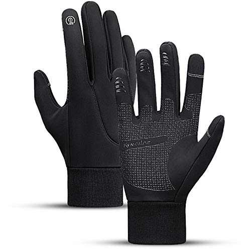 LISM Cycling Gloves Motorcycle Bike Gloves Waterproof Touch Screen Warm Gloves Black, Large
