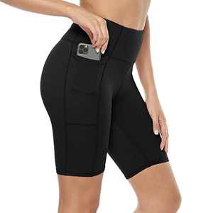 Davenil Women's High Waist Workout Biker Yoga Running Compression Exercise Shorts Side & Inner Pockets Black XXL