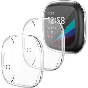 LORDSON 3-Pack Screen Protector Case Compatible with Fitbit Sense/Versa 3, Soft Flexible TPU Bumper Case Full Protective Cover Frame Accessories for Sense/Versa 3 Smart Watch