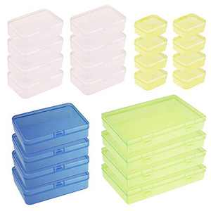 Goodma 24 Pieces Mixed Sizes Colored Rectangular Plastic Boxes Empty Storage Organizer Containers with Hinged Lids for Small Items and Other Craft Projects