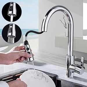 GERUIKE Kitchen Tap, Kitchen Taps Mixer 360° Swivel, Kitchen Taps with Pull Out Spray, Kitchen Taps with 3 Spray Modes, Kitchen Mixer Tap Chrome