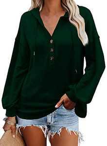 VICHYIE Womens Hoodies Long Sleeve Tunic Top Button Down V Neck Loose Casual Drawstring Henley Shirt Pullover Sweatshirt Blouses Green M