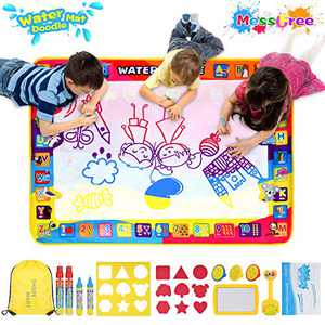 SHAPE MART Water Drawing Mat - Large Water Magic Doodle Mat for Toddler, Mess Free Painting Aqua Mat for Kids with Magic Pens and Bag, Educational Toys for Kids Age 3 4 5 6 Years Old