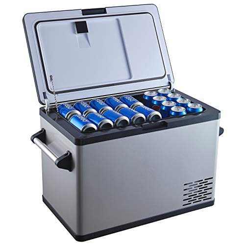 Ausranvik 45 Quart(42 Liter) Black Portable Refrigerator Freezer (-4F- 68F degree),portable fridge for Vehicle,RV,Boat,portable car freezer for Driving,Travel,Home with12/24V DC and 110V AC Compressor