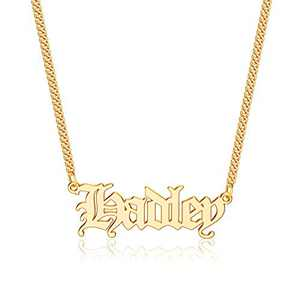 Anoup Gold Custom Name Necklace Personalized, Hadley 14k Gold Plated Personalized Name Necklace Gold Customized Necklace Jewelry Name Plate Necklace Personalized Gifts for Women Gothic Font Style