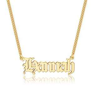 Anoup Gold Custom Name Necklace Personalized, Hannah 14k Gold Plated Personalized Name Necklace Gold Customized Necklace Jewelry Name Plate Necklace Personalized Gifts for Women Gothic Font Style