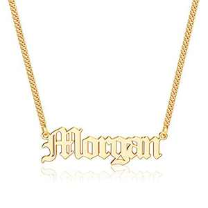 Anoup Gold Custom Name Necklace Personalized, Morgan 14k Gold Plated Personalized Name Necklace Gold Customized Necklace Jewelry Name Plate Necklace Personalized Gifts for Women Gothic Font Style
