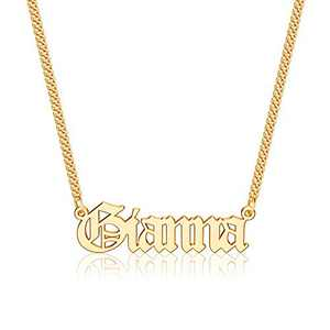 Anoup Gold Custom Name Necklace Personalized, Gianna 14k Gold Plated Personalized Name Necklace Gold Customized Necklace Jewelry Name Plate Necklace Personalized Gifts for Women Gothic Font Style