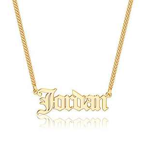 Anoup Gold Custom Name Necklace Personalized, Jordan 14k Gold Plated Personalized Name Necklace Gold Customized Necklace Jewelry Name Plate Necklace Personalized Gifts for Women Gothic Font Style
