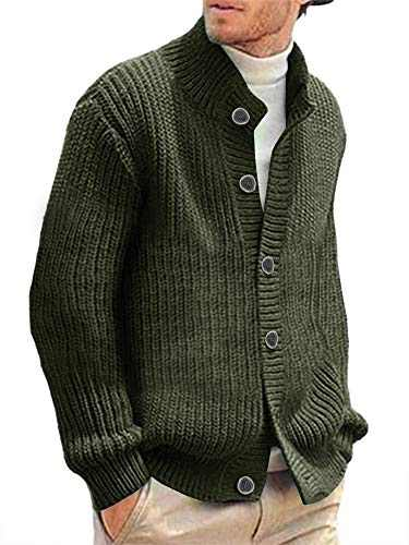 Makkrom Mens Stylish Cable Knitted Button Cardigan Sweater Chunky Stand Collar Sweaters Army Green