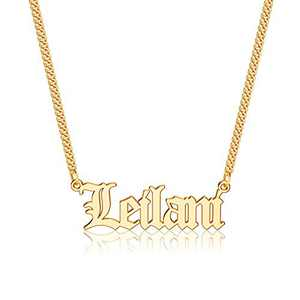 Anoup Gold Custom Name Necklace Personalized, Leilani 14k Gold Plated Personalized Name Necklace Gold Customized Necklace Jewelry Name Plate Necklace Personalized Gifts for Women Gothic Font Style