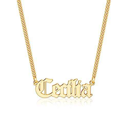 Anoup Gold Custom Name Necklace Personalized, Cecilia 14k Gold Plated Personalized Name Necklace Gold Customized Necklace Jewelry Name Plate Necklace Personalized Gifts for Women Gothic Font Style