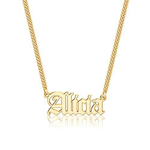 Gold Custom Name Necklace Personalized, Alicia 14k Gold Plated Personalized Name Necklace Gold Customized Necklace Jewelry Name Plate Necklace Personalized Gifts for Women Gothic Font Style