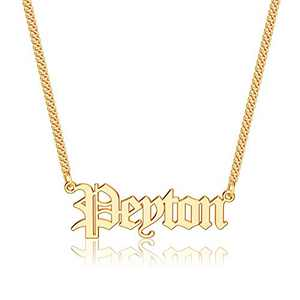Anoup Gold Custom Name Necklace Personalized, Peyton 14k Gold Plated Personalized Name Necklace Gold Customized Necklace Jewelry Name Plate Necklace Personalized Gifts for Women Gothic Font Style