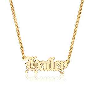 Anoup Gold Custom Name Necklace Personalized, Hailey 14k Gold Plated Personalized Name Necklace Gold Customized Necklace Jewelry Name Plate Necklace Personalized Gifts for Women Gothic Font Style
