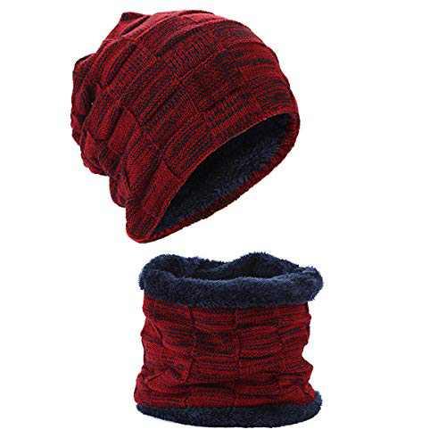 Christmas Beanie Hat for Women & Men - with Knit Scarf Stocking Hat Warm Polar Fleece Skull Cap - Red/Gray/Black