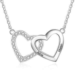 kaululu Personalized Heart Necklace for Women Charms 2/3 Name Customed Engraved Necklace for Teens Girls Women BFF Necklace