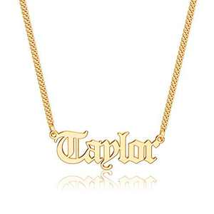 Anoup Gold Custom Name Necklace Personalized, Taylor 14k Gold Plated Personalized Name Necklace Gold Customized Necklace Jewelry Name Plate Necklace Personalized Gifts for Women Gothic Font Style