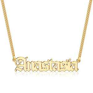 Gold Custom Name Necklace Personalized, Anastasia 14k Gold Plated Personalized Name Necklace Gold Customized Necklace Jewelry Name Plate Necklace Personalized Gifts for Women Gothic Font Style