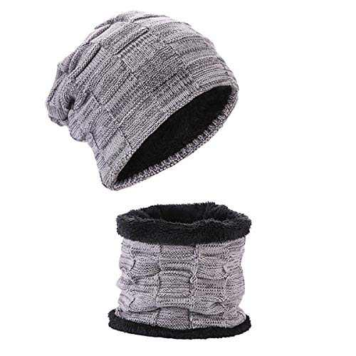 Beanie Hat for Women & Men - with Knit Scarf Stocking Hat Warm Polar Fleece Skull Cap - Red/Gray/Black