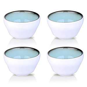 DUS Dessert Bouillon Ice Cream Cups,9.5 Ounce Dip Ceramic Tapas Bowlsl Sauce Dishes Set of 4,Microwavable Durable Bowls For Eating,White with Inside Sky blue