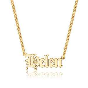 Anoup Gold Custom Name Necklace Personalized, Helen 14k Gold Plated Personalized Name Necklace Gold Customized Necklace Jewelry Name Plate Necklace Personalized Gifts for Women Gothic Font Style