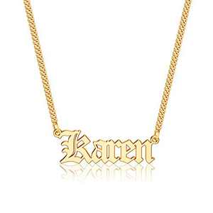 Anoup Gold Custom Name Necklace Personalized, Karen 14k Gold Plated Personalized Name Necklace Gold Customized Necklace Jewelry Name Plate Necklace Personalized Gifts for Women Gothic Font Style