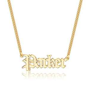 Anoup Gold Custom Name Necklace Personalized, Parker 14k Gold Plated Personalized Name Necklace Gold Customized Necklace Jewelry Name Plate Necklace Personalized Gifts for Women Gothic Font Style