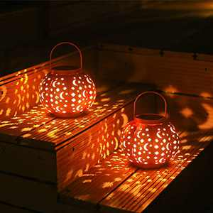 2 Pack Solar Lanterns Pumpkin Solar Lights Outdoor Waterproof Outdoor Hanging Lights Garden Decorative