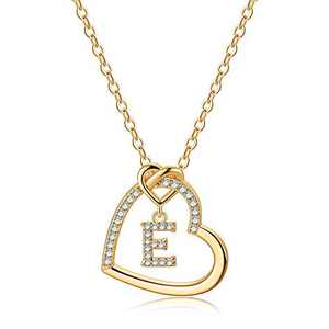 Gold Initial Necklaces for Teen Girls, CZ Heart Pendant Initial E Necklaces for Teen Girls Women, Dainty Letter Necklace for Women Girls Jewelry Cute Heart Necklace Jewelry for Girls Gifts for Her