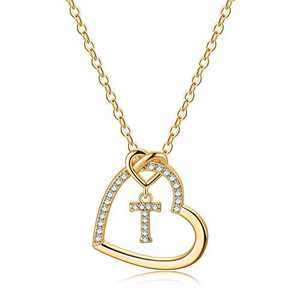 Gold Initial Necklaces for Teen Girls, CZ Heart Pendant Initial T Necklaces for Teen Girls Women, Dainty Letter Necklace for Women Girls Jewelry Cute Heart Necklace Jewelry for Girls Gifts for Her