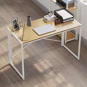 Folding Table Computer Writing Desk, Home Office Work Desk, Portable Modern Simple Foldable Laptop Table Student Study Gaming Desks for Small Spaces, Bedroom, 30s Easy to Assemble, 47 inch, White