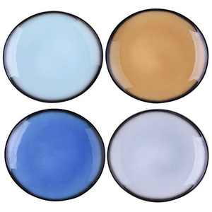 DUS Colorful Ceramic Dinner Plates Set 10.4 Inch Curved Dinnerware Set Platters Dishes for Restaurant Home Party - Set of 4