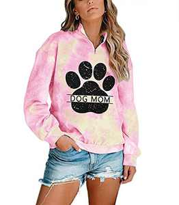 Dog Mom Tie-dye Sweatshirts Women Funny Dog Paw Graphic Shirts Casual Pullover Long Sleeve Top Blouse Pink