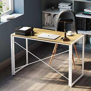Folding Computer Writing Small Desk, Home Office Work Desk, Portable Modern Simple Laptop Foldable Table Student Study Gaming Desks for Small Spaces, Bedroom, 30s Easy to Assemble, 39 inch, White