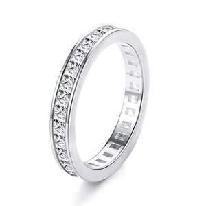Sllaiss 925 Sterling Silver CZ Eternity Rings White Gold Plated Stackable Band Rings Round-Cut Cubic Zirconia Wedding Engagement Ring Jewelry for Her (9)