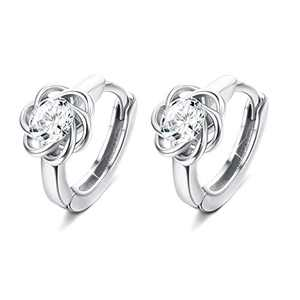 Sllaiss 8MM Small Hoop Earrings for Women Cubic Zirconia Sterling Silver Celtic Knot 10MM Cartilage Piercing Love Knot Earrings Round Cut CZ Halo Dainty Earrings