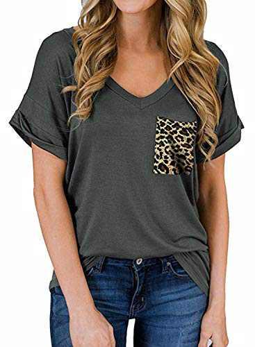 RULINJU Women's Short Sleeve T Shirts V-Neck Tunic Tops Loose Casual Tees Front Leopard Pocket (Small, B06_Dark Gray)