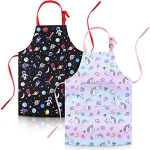 2 Pieces Kids Aprons Unicorns Aliens Printed Aprons for Boys and Girls (Small)