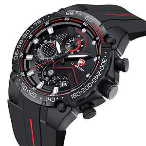 CHEETAH Mens Chronograph Watch Outdoor Waterproof Military Tactical Style Black Red Quartz Sports Watches for Men with Rubber Strap