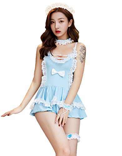 Mingnos Women's Cosplay Uniform Outfits Lace Decor Maid Costume Lingerie Sets (Blue)